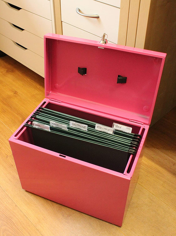 pink H/ängemappenbox aus Metall, A4 Ablagebox