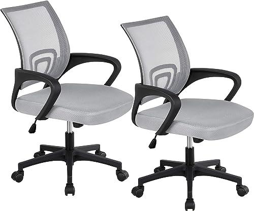 YAHEETECH Ergonomic Mesh Office Chair Mid-Back Height Adjustable Desk Chair Swivel Computer Chair
