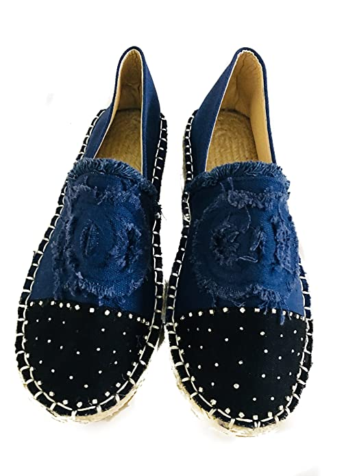 Amazon.com: DENIM LOVELY ESPADRILLE WOMEN FLAT SHOES SHINNING STONE.SIZE 36,37,38,39.: Shoes