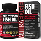 NutraEdge Omega 3 Fish Oil Triple Strength 3000mg, 180 Softgels