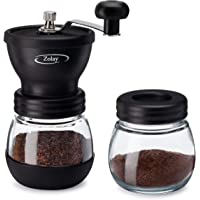 Zolay® Manual Coffee Grinder with Ceramic Burrs, Glass Jars, Silicon Cover and Stainless Steel Handle (Glass Jar, Black)