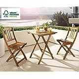 SAM® 3-tlg. Balkongruppe Blossom, Akazienholz Geölt, Gartengruppe mit 1 Tisch + 2 Stühle, klappbar, FSC Zertifiziert
