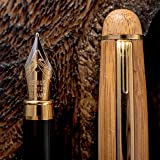 Fountain Pen Set Fine to Medium Nib Original Bamboo Wood With Elegant Case and Converter Vintage Antique Calligraphy Drawing Writing Journal Pens With Ink Cartridges Luxury Business Gift For Women Men