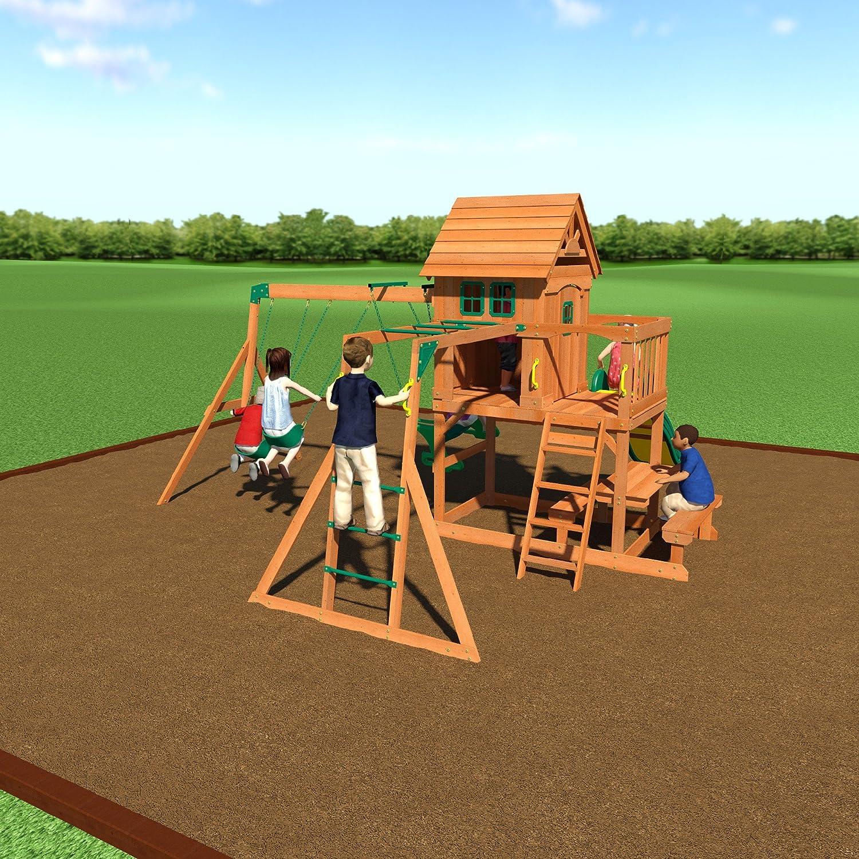 Amazon.com: Backyard Discovery Springboro All Cedar Wood Playset Swing Set:  Toys & Games - Amazon.com: Backyard Discovery Springboro All Cedar Wood Playset