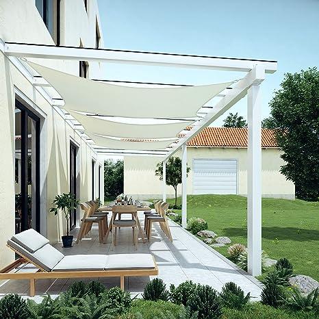 Blanc GSH46IVV1 pour Jardin R/ésistante aux intemp/éries Polyester Protection Solaire SONGMICS 4 x 6 m Voile dombrage en PES