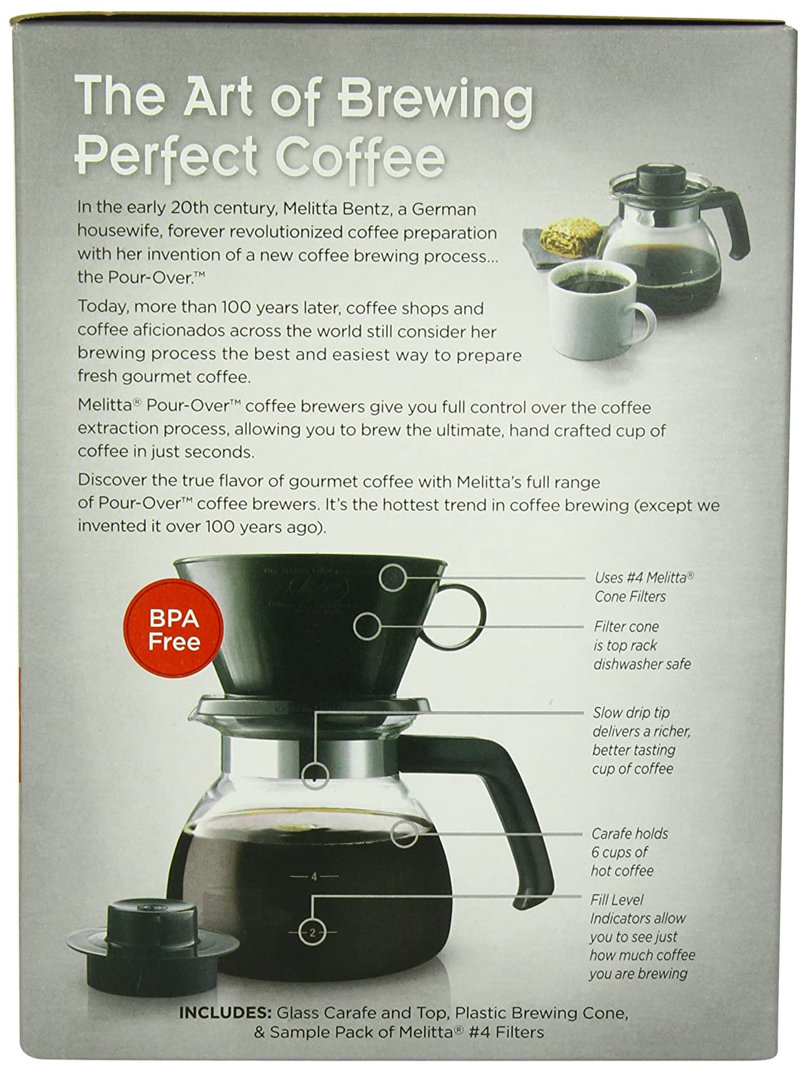 amazoncom melitta coffee maker 6 cup pourover brewer with glass carafe 1count single serve brewing machines grocery u0026 gourmet food