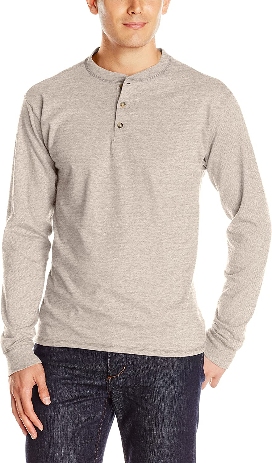Hanes Men's Long Sleeve Beefy Henley Shirt