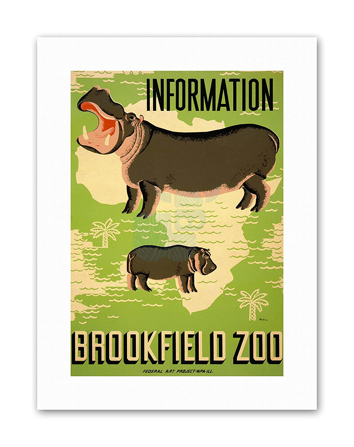 Amazon.com: AD BROOKFIELD ZOO HIPPO AFRICA Exhibition Canvas art ...