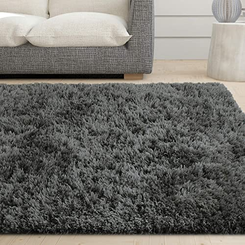 iCustomRug Cozy Soft Charcoal Faux Sheepskin Fur Shag Area Rug