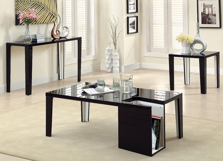 Furniture of America LeBlanc 2-Tone Sofa Table, Black and White