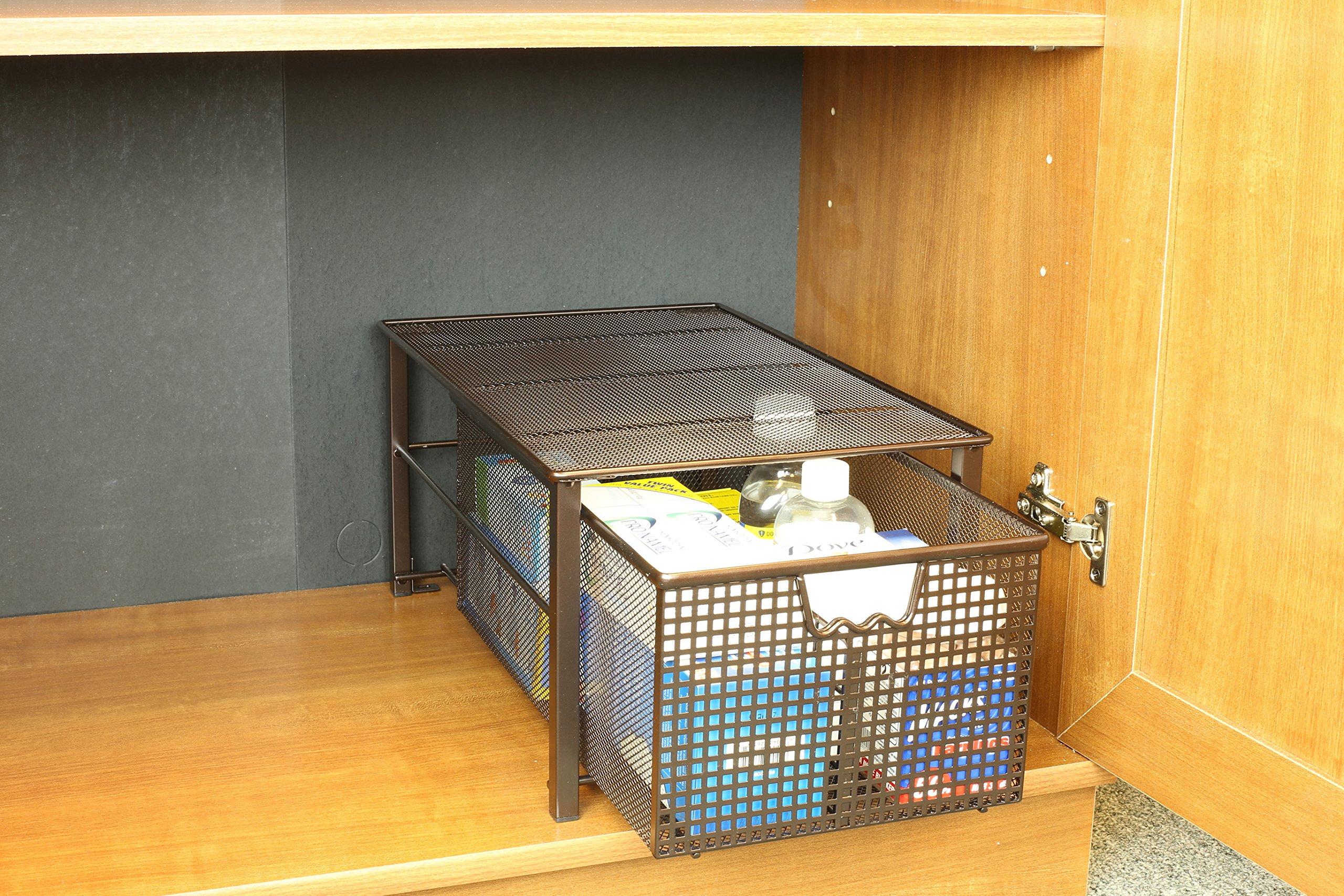 under the sink slide out cabinet organizer drawer kitchen bathroom bronze large ebay. Black Bedroom Furniture Sets. Home Design Ideas