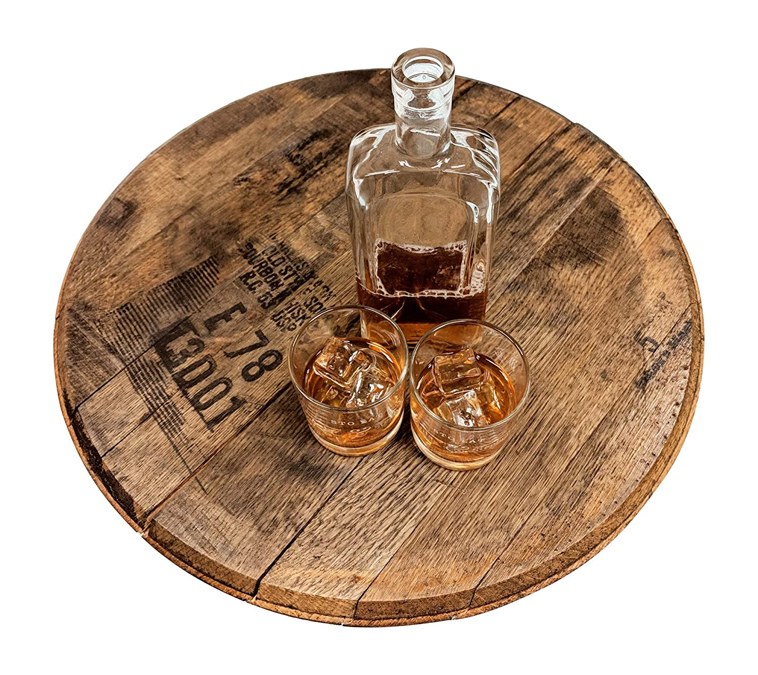 Bourbon Barrel Head - Authentic Distillery Stamped - Used to age Spirits and Upcycled by WhiskeyMade (Lazy Susan, Natural Oak)