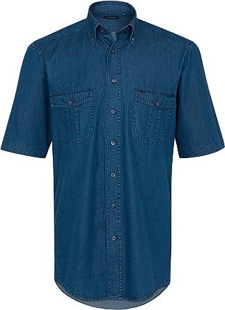 Casa Moda 1/2-Arm Jeans camisa azul claro Button Down: Amazon ...