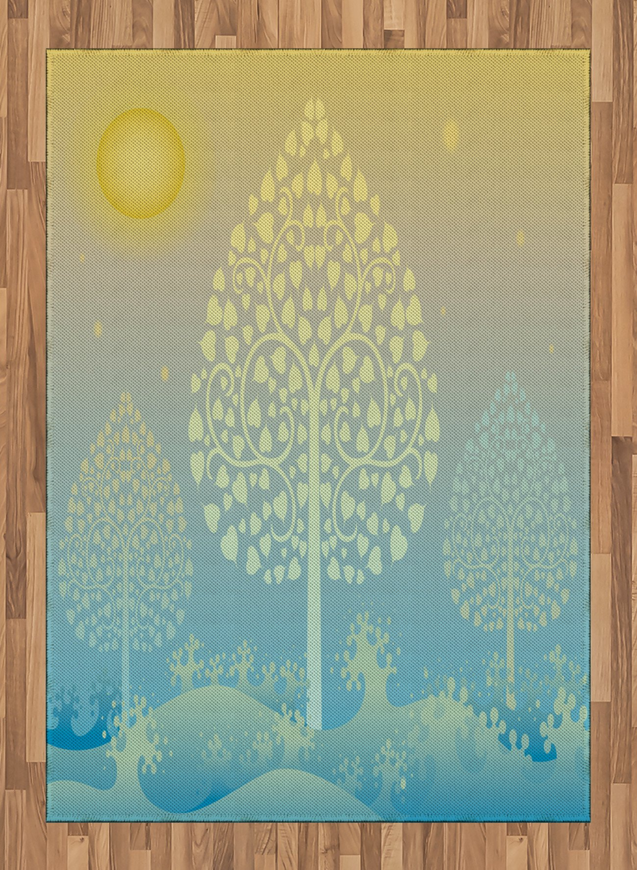Art Area Rug by Ambesonne, Thai Pattern Design Illustration of Gold Tree Oriental Culture Asia Eastern Ways, Flat Woven Accent Rug for Living Room Bedroom Dining Room, 5.2 x 7.5 FT, Gold Sky Blue by Ambesonne