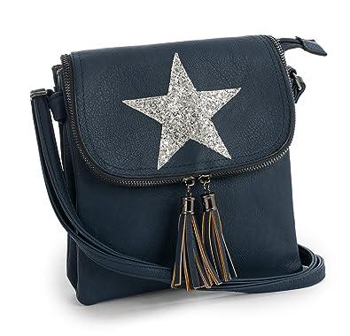 d082302675 Big Handbag Shop Womens Flapover Cross Body Glitter Star Shoulder Bag -  Small Size (Navy