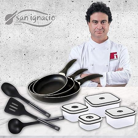 San Ignacio Navy Black Set de 3 sartenes + 4 recipientes herméticos + 3 Utensilios de Cocina, Aluminio Prensado, Negro: Amazon.es: Hogar