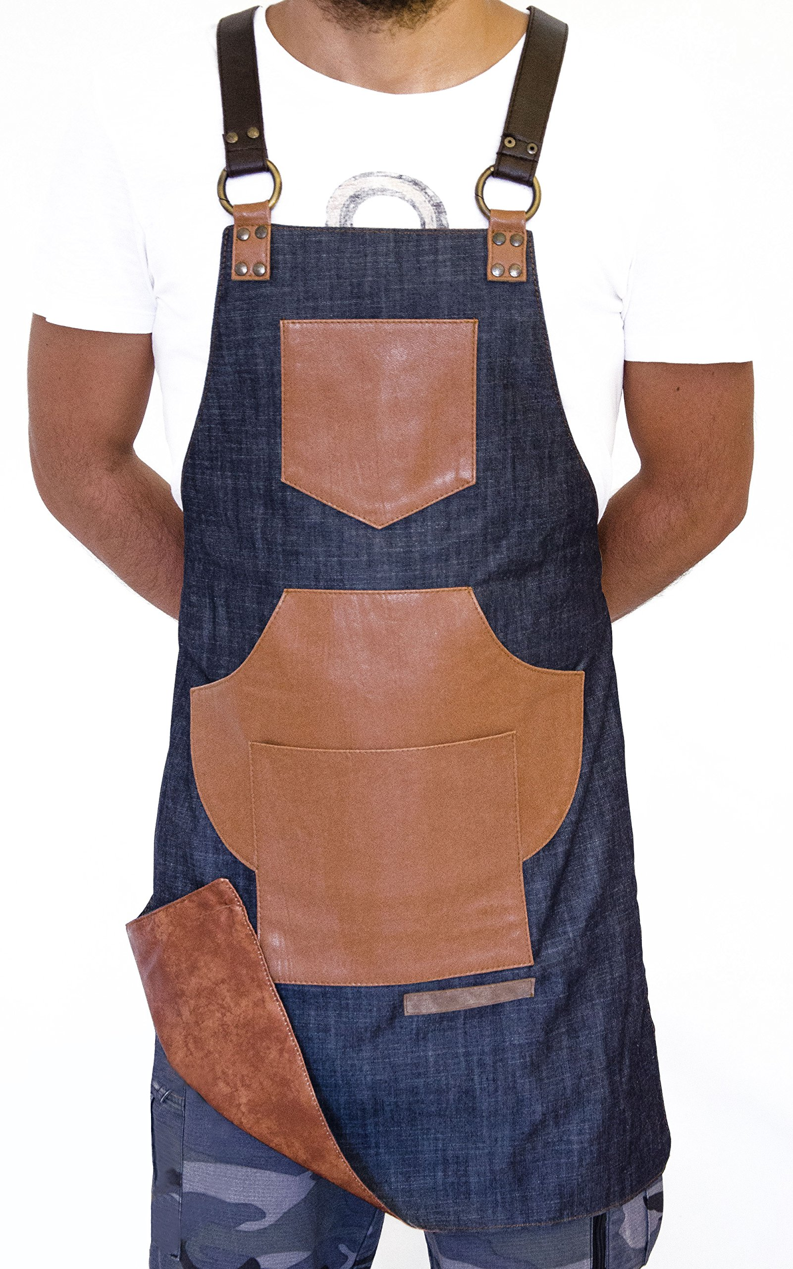 ApronNYC Work Apron with Tool Pockets & Adjustable Straps, Rafael-Denim