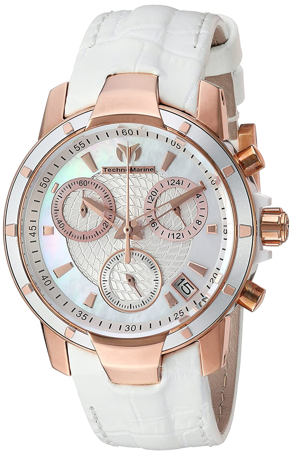 Amazon.com: Technomarine Womens UF6 Quartz Gold and Leather Casual Watch, Color:White (Model: TM-615003): Watches