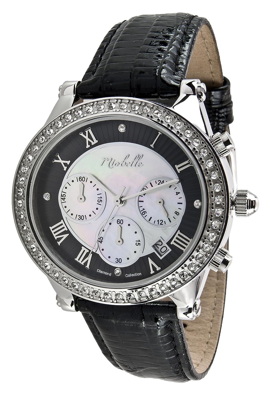 Miabelle Damen-Armbanduhr Analog Quarz Diamanten Leder Schwarz - 12-006W-B-MB