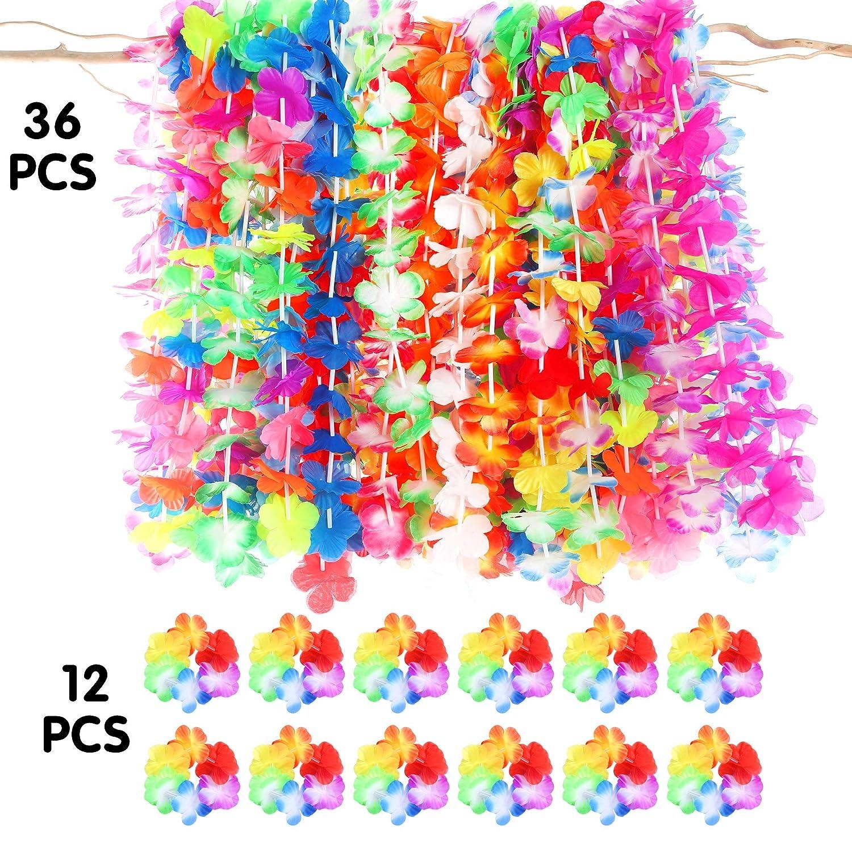 12ct luau lei bracelets,hawaiian luau party decorations party favors Luau party supplies-36ct tropical hawaiian luau flower leis
