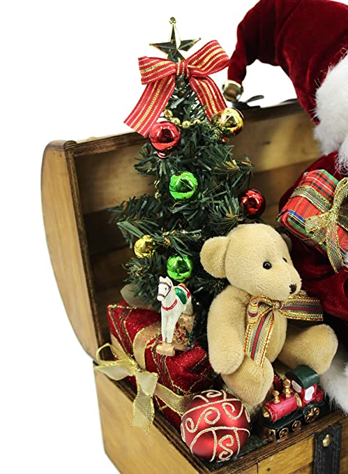 Windy Hill Collection 12 X 12 X 12 Santa On Wood Treasure Chest Loaded With Toys 169010 Amazon In Home Kitchen