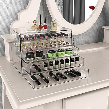 BATHWA Kosmetik Aufbewahrung Organizer Acryl Box, 5 Schubladen Transparent  Make Up Schmuck Kosmetikschrank 26.2 X