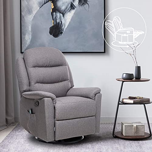ULTIFIT Fabric Massage Recliner Chair 360 Swivel Recliner Single Sofa Recliner Chair Padded Seat Recliner Grey