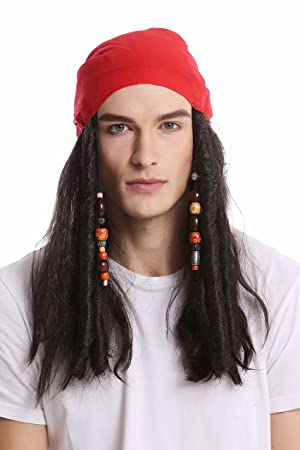 WIG ME UP ® - A72325-P1 Peluca & Bandana pañuelo Halloween Carnaval Mujer Hombre