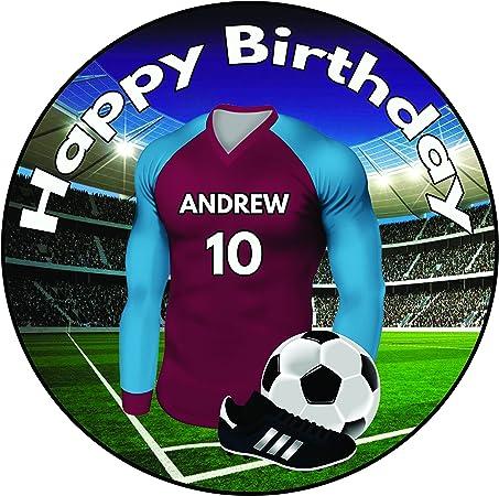 Decoración para tarta de cumpleaños, diseño de camisa de fútbol personalizable, 20 cm, para glaseado redondo, colores de West Ham: Amazon.es: Hogar