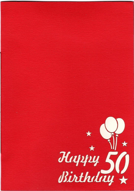 Favour Pop Up biglietto per il 50/° compleanno Unopera darte in filigrana che si dispiega allapertura della busta rossa progettata.