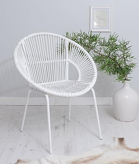 Blanco sillón con patas de metal silla de mimbre estilo ...