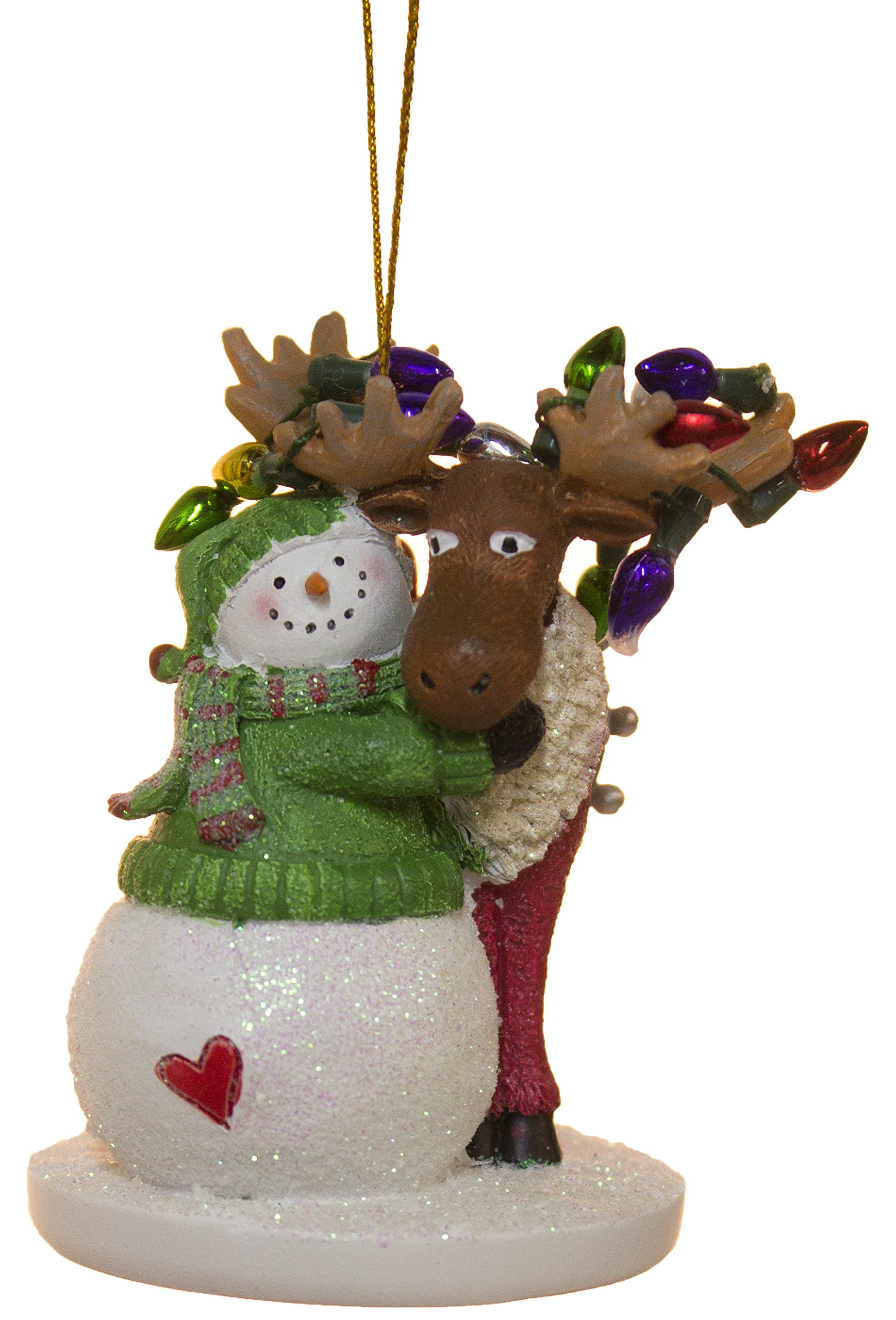 Moose with Snowman and Lights Christmas/ Everyday Ornament