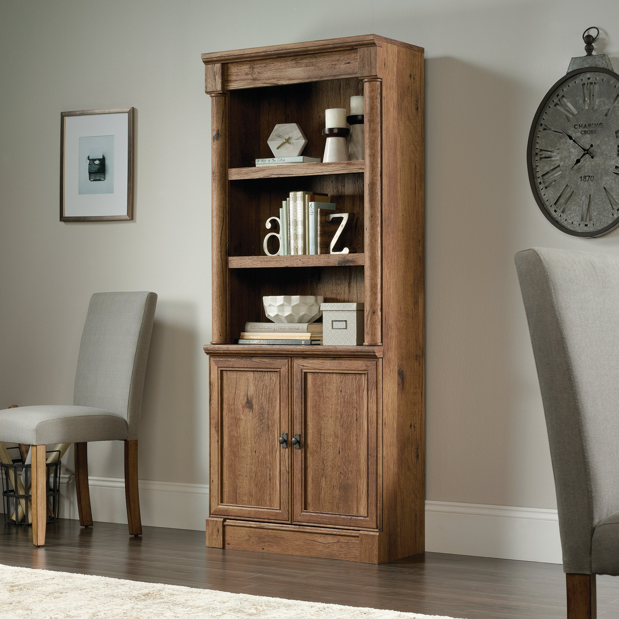 Sauder 420609 Palladia Library with Doors, L: 29.37'' x W: 13.90'' x H: 71.85'', Vintage Oak finish by Sauder (Image #2)