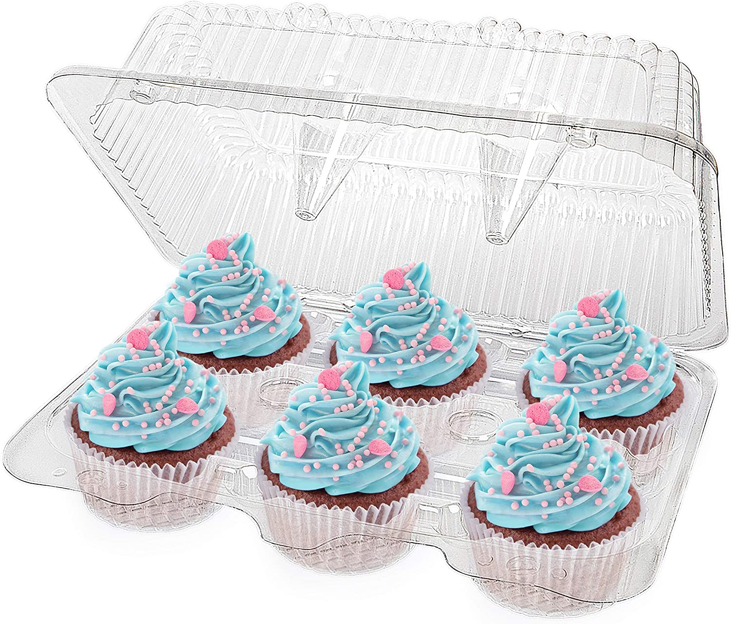 Stock Your Home 6-Compartment Disposable Containers (40 Count) - Plastic Cupcake Containers - Disposable Trays for Cupcakes & Muffins - Hinged Lock Cupcake Clamshell - Deep Cups for Cupcake Storage
