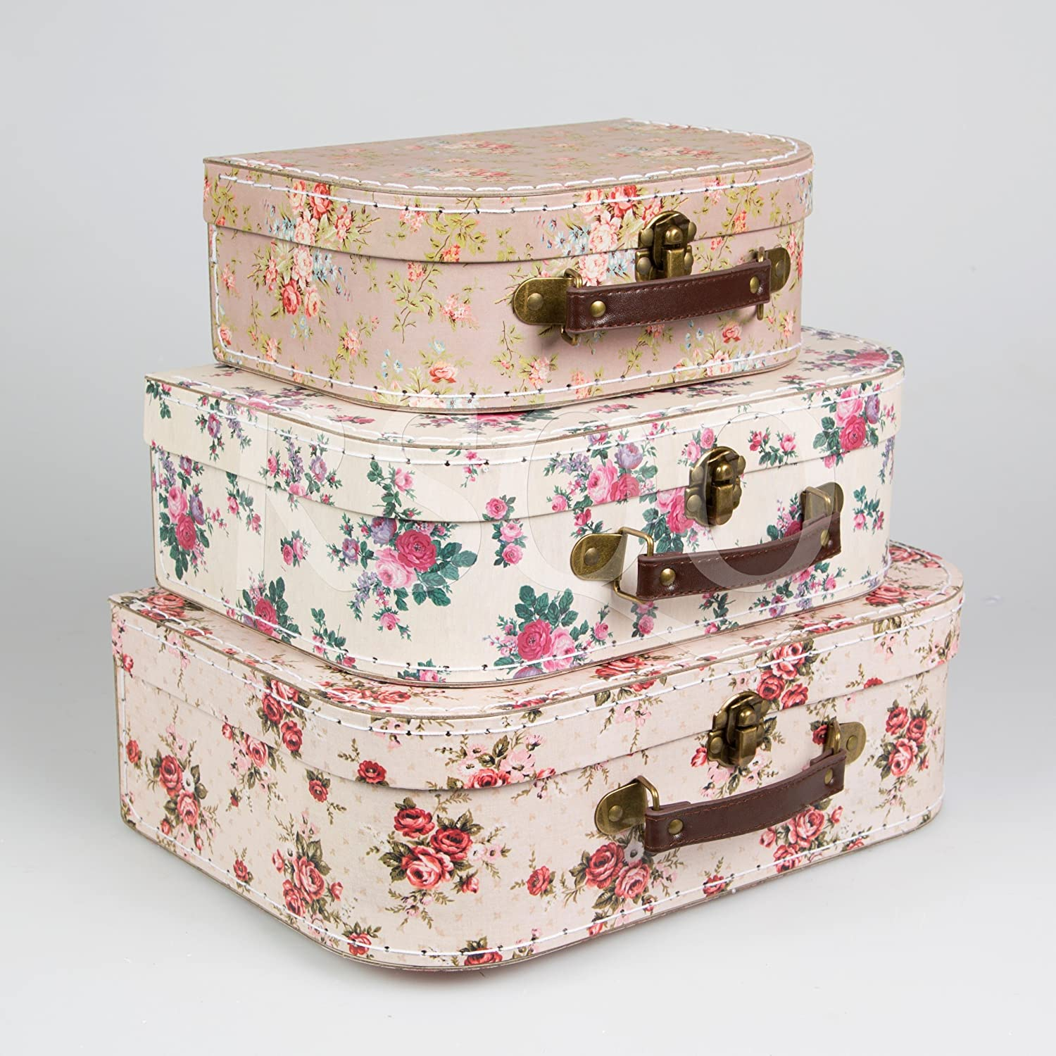 (Vintage Rose) - Set of 3 Suitcase Storage Boxes School Home Decor Sass and Belle Various Designs