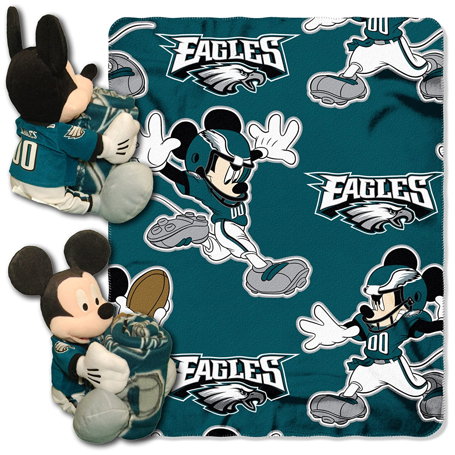 "Officially Licensed NFL Co Mickey Mouse Hugger and Fleece Throw Blanket Set, Multi Color, 40"" x 50"""