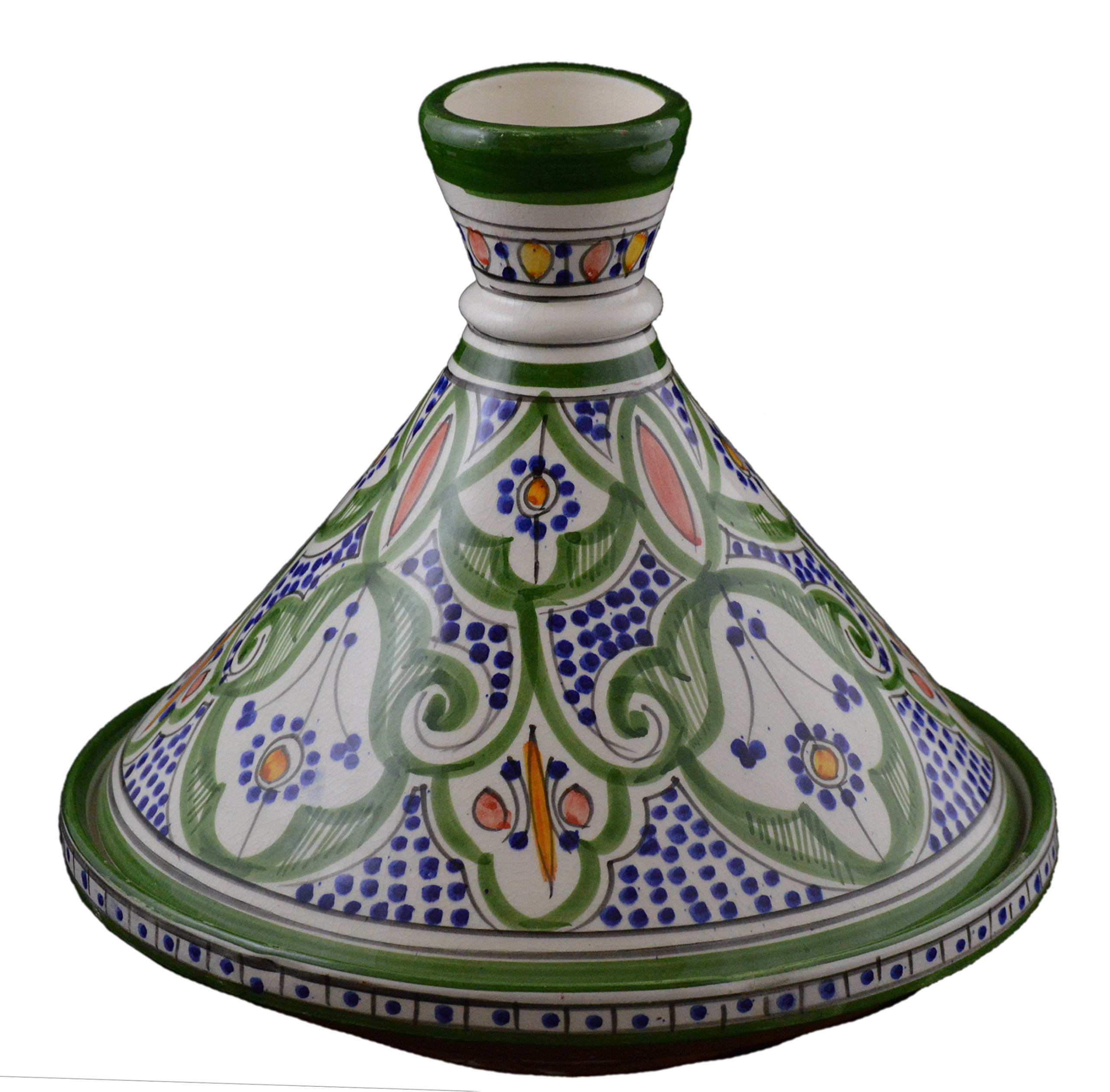 Moroccan Handmade Serving Tagine Exquisite Ceramic With Vivid Colors Traditional 12 inches Across XLarge
