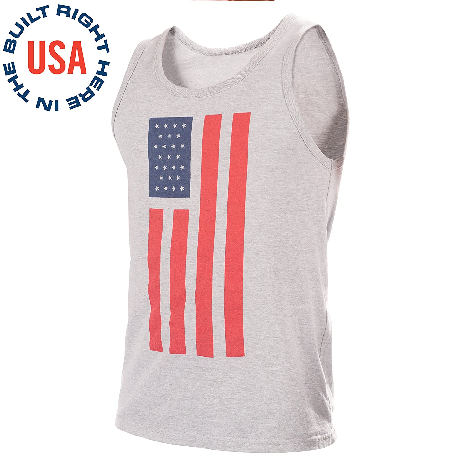f509f6872b80 Amazon.com: Epivive Patriotic American Flag Tank Top Shirt: Red, White and  Gray Graphic Tanks for Men, Women, Teens, Boys & Girls - Large: Sports &  Outdoors