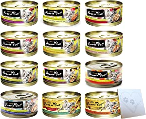 Fussie Cat Huge Variety Pack - 12 Flavors: Tuna & Shrimp, Chicken & Liver, Tuna & Prawn, Tuna & Bream, Chicken & Vegetable, Tuna & Clam, (1) Pet Paws Notepad and More! (2.82oz Each, 12 Total Cans)