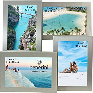 benerini Brushed Aluminium Satin Silver Colour 4 Picture Multi Aperture Photo Frame Gift - Holds 4 Photographs No. 56
