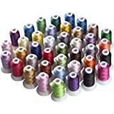 Simthread 40 Brother Vibrant Colors Spools Poly Embroidery Thread for Brother Singer Machines