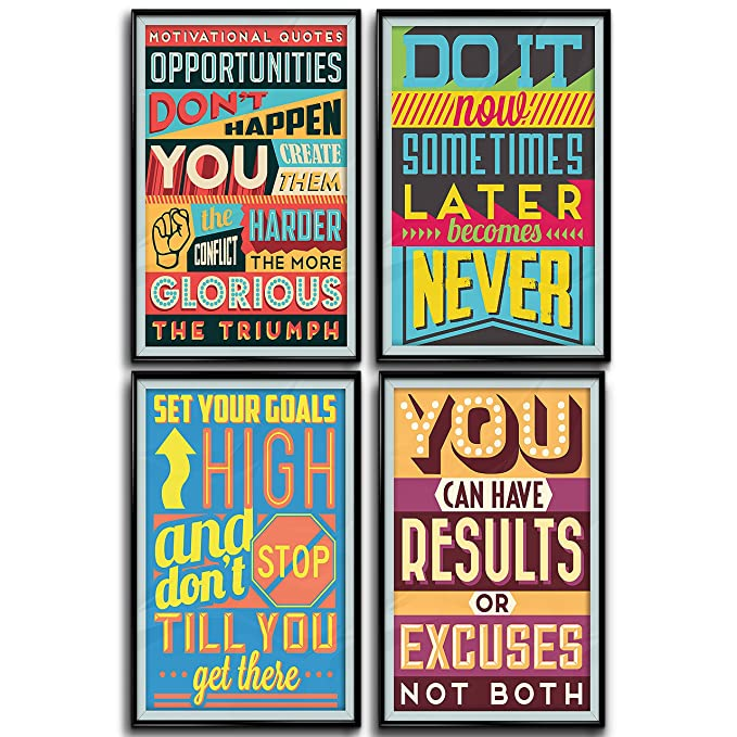 Motivational Inspirational Quotes Posters for Classroom or College Posters Art Prints Positive Vibes Wall Poster Arts Set of Four 11×17 1MM Thick