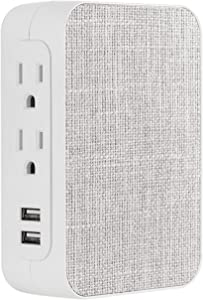 GE Pro 5 Outlet 2 USB Fabric Wall Tap Surge Protector, Side Access, Designer Power Adapter, Plug in Extender, 560 Joules, Gray/White, 43436