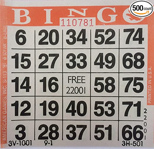 Pack of 500 Sheets United Novelty 1 on Purple 7 Bingo Pattern Game Cards