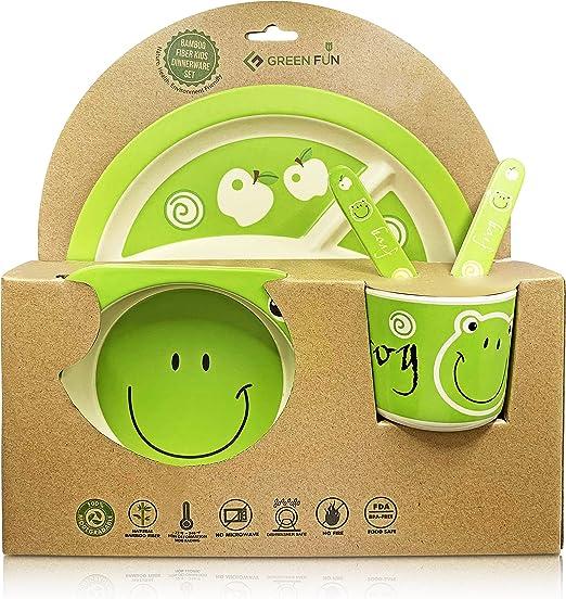 GreenFun juego de vajilla de bambú para niños, biodegradable, sin ...