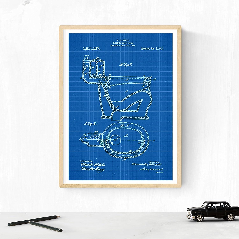 Nacnic Azul - Pack de 4 Láminas con Patentes del Vater. Set de Posters con inventos y Patentes Antiguas. Elije el Color Que Más te guste.