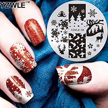 Amazon Yzw06 Christmas Snowflake Reindeer Nail Art Image Plate