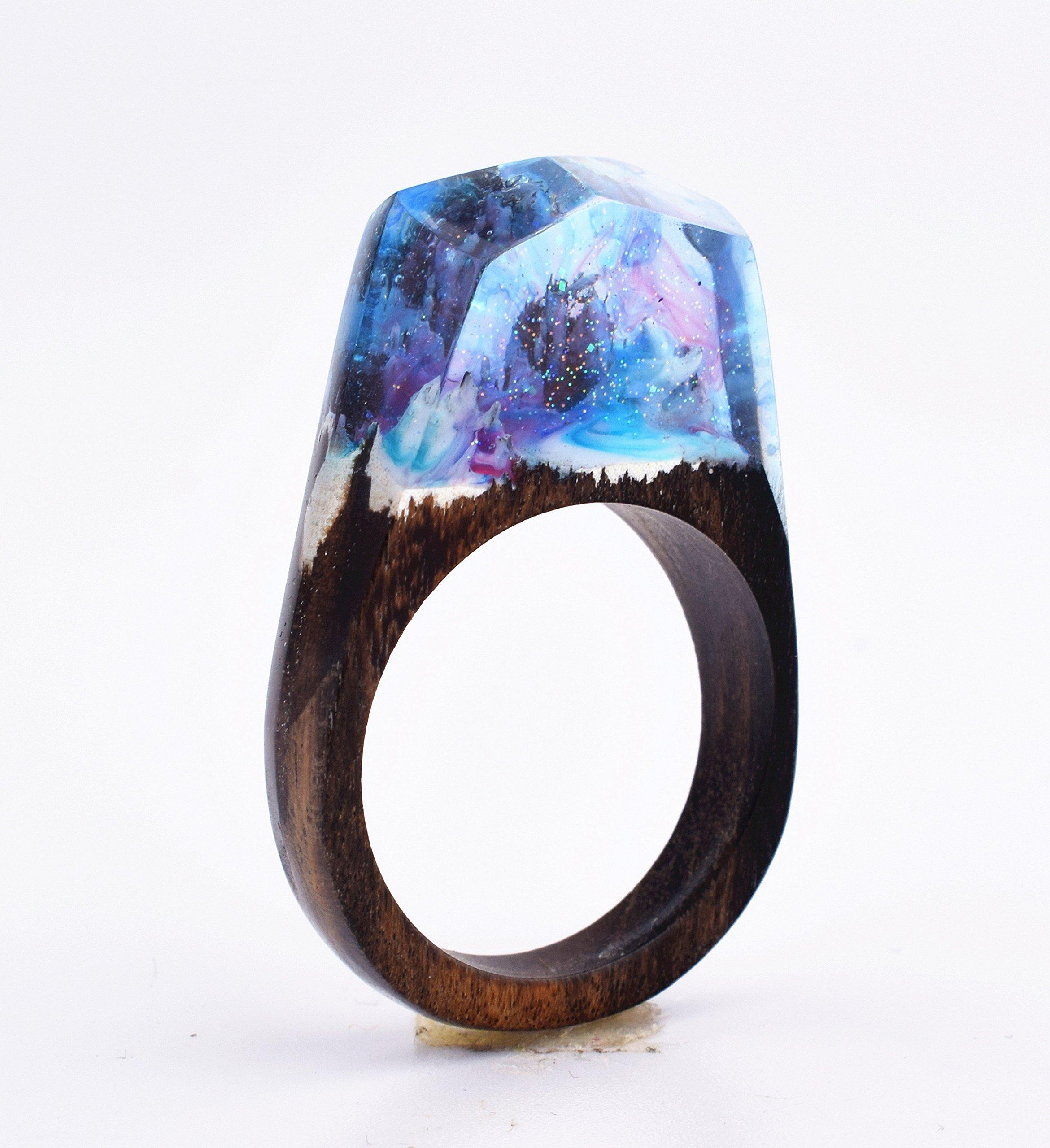 Heyou Love Handmade Wood Resin Ring With Secret Sky Landscape Inside Jewelry by Heyou Love (Image #2)