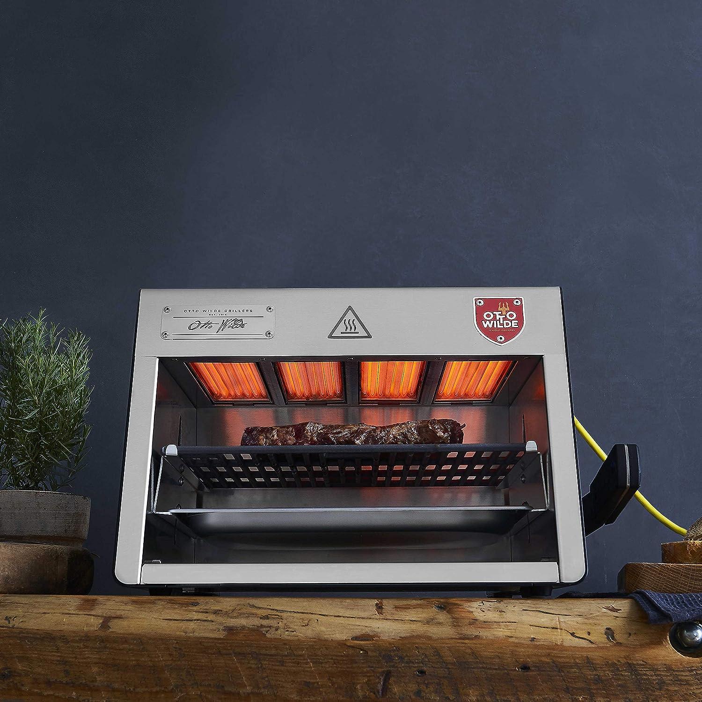 Barbacoa el/éctrica de Acero Inoxidable Barbacoa el/éctrica con hasta 800 Grados para el Filete Parrilla de Hierro Fundido etc. Otto Wilde Grillers