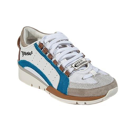 DSquared Zapatillas de Piel Para Mujer Blanco White, Blu, Brown, Color Blanco, Talla 37 EU: Amazon.es: Zapatos y complementos